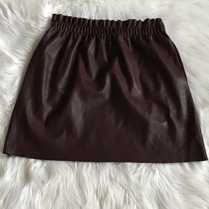 Zara Faux Leather Maroon Mini Skirt